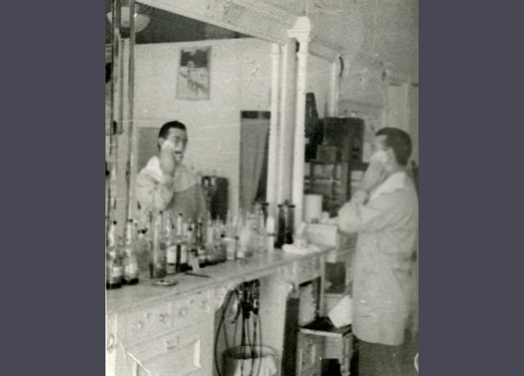Ray Cahill Shaving in the Shop BHA ID: 1985.16.23