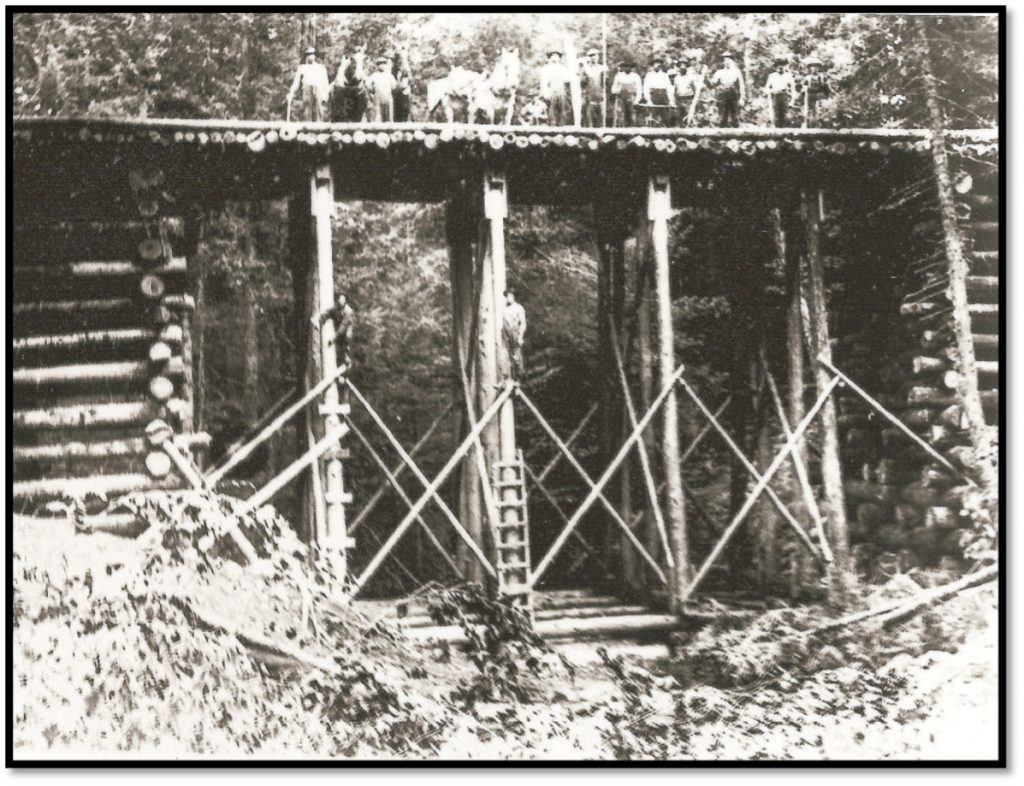 Squaw Bay - Mawikwe Bay presently - camp and train trestle near to the campsite ca 1900 BHA 83.9.2