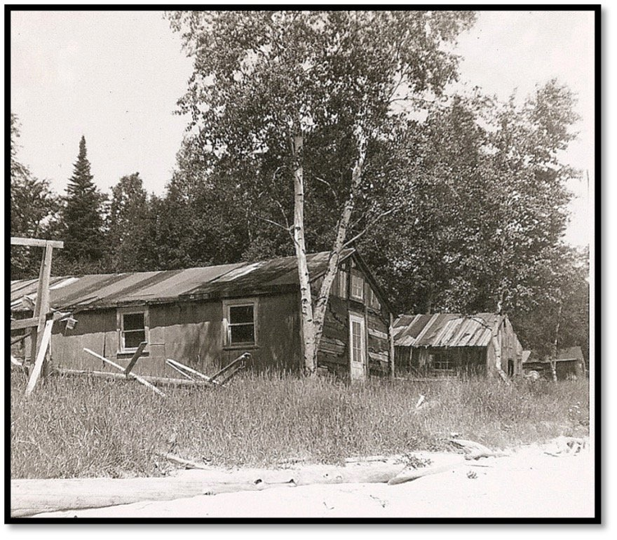 Eli LaPointe Lumber Camp Rocky Island ca 1966 Bunk House Cook Shanty and Office in background Robert J Nelson Collection