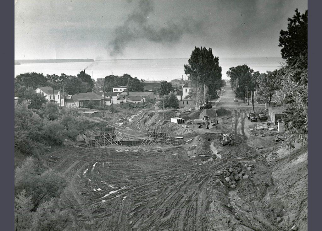 1942 Flood - Flood Mitigation 1950s at Base of Big Ravine - 1980.6.15