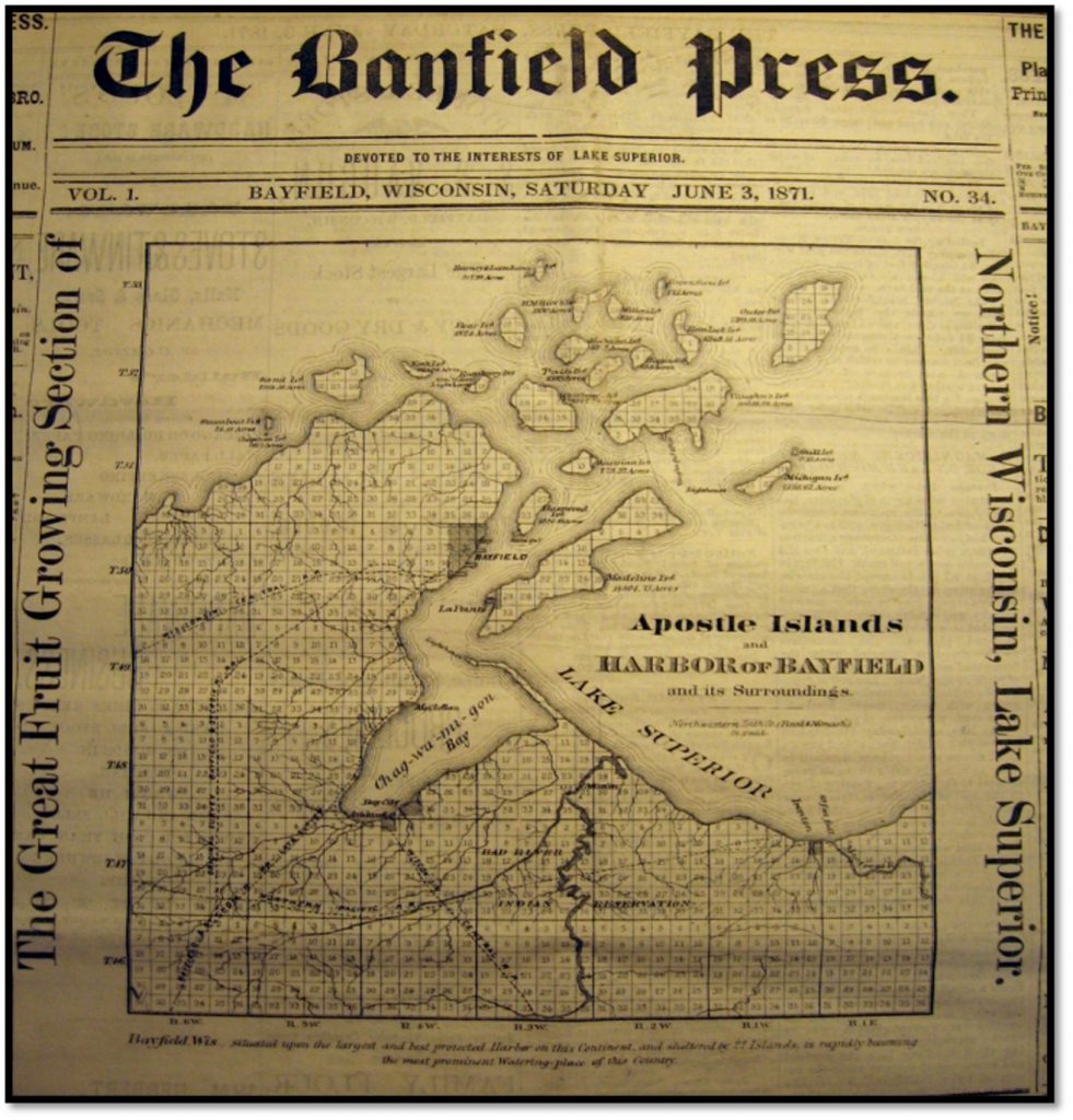 Platted Section Map of Bayfield and Ashland Counties - June 3 1871