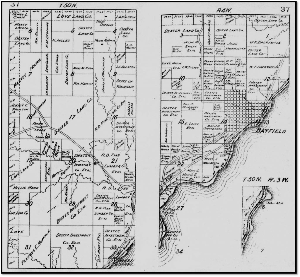 1906 Plat Town of Bayfield Plat Map