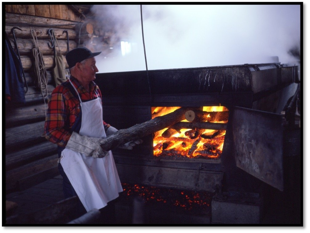 Harvey Nourse stoking the boiler fire at the Sugar Shack BHA 2013.7.7