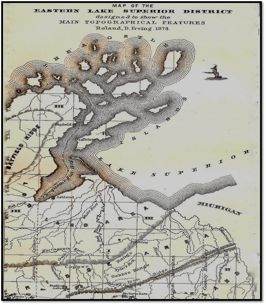 Bayfield Ridge Map From Geology of Wisconsin 1880